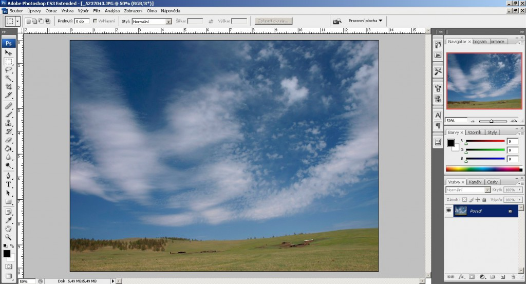 Otevření obrázku ve Photoshopu